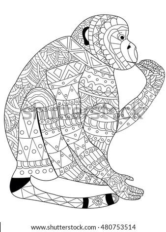 Monkey Coloring Book Adults Raster Illustration Stockillustration ...