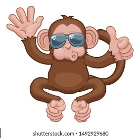 A monkey cool cute happy cartoon character animal wearing sunglasses waving and giving a thumbs up
