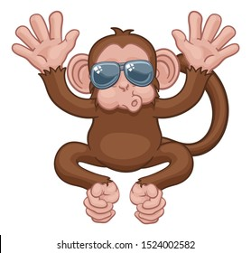 A monkey cool cute happy cartoon character animal wearing sunglasses waving with both hands