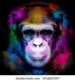 monkey head in reggae hat and eyeglasses with creative abstract elements on white background