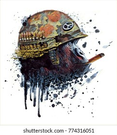 Monkey soldier with a cigarette. Art Graphic.