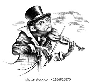 Monkey in a top hat and plaid coat plays the violin. Digital illustration. Digital art. Black and white graphics.
