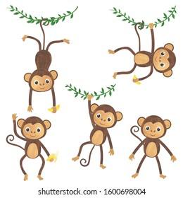 Monkey watercolor set of animals tropics illustrations.