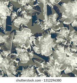 Mono duo tone floral patern retro camouflages backgroun seamless print. Green military color textured floers backdrop. Camo template.