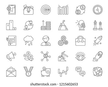 Mono line icon set of business and finance theme. banking money, business finance, capitalization economy and investment illustration