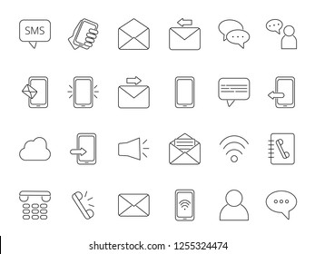 Mono line icon set of business theme. Symbols of communication