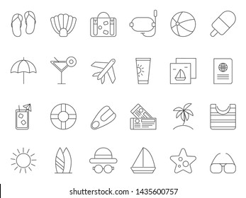 Mono line pictures of summer time theme. icons set of tourism and travel, luggage and ice cream, airplane and passport illustration