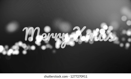 Monochrom Merry christmass inscription on black and white background with many fuzzy, round lights, celebration and winter holidays concept. Merry Christmass phrase with flying sparkles.