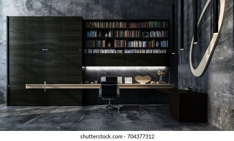 Monochromatic luxury grey modern office interior with long table style desk, chair and bookcase full of books. 3d Rendering.