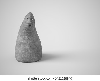 Monochrome 3D rendering of a cute stone figures with a face looking at you. Gray background.