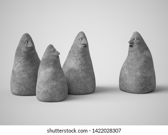 Monochrome 3D rendering of a group of four cute stone figures with faces talking to each other. Gray background.