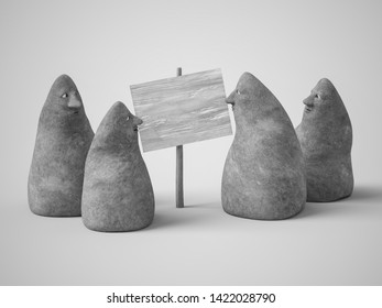 Monochrome 3D rendering of a group of four cute curious stone figures with faces looking at a blank sign. Gray background.