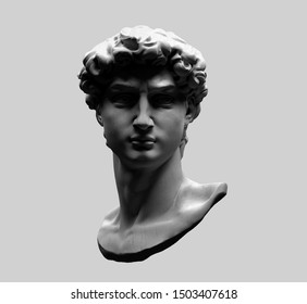 Monochrome 3D rendering illustration of head bust classical sculpture isolated on grey background.