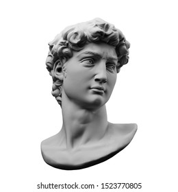 Monochrome 3D rendering illustration of head bust classical sculpture isolated on white background.