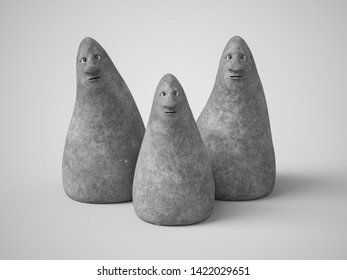 Monochrome 3D rendering of three cute curious stone figures with faces looking at you. Gray background.
