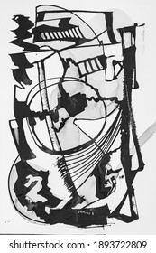 A Monochrome Abstract Calligraphic Design.  Rough Black and white line art from a cola pen.