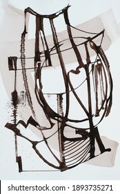 A Monochrome Abstract Calligraphic Design.  Rough bistre and white line art from a cola pen.