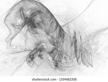 Monochrome abstract fractal illustration. Future technology background.