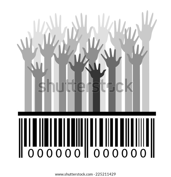 Monochrome barcode and hands