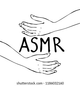 Monochrome black and white hands making smooth movements with text asmr. Hand drawn, isolated on white background.