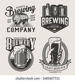 Monochrome brewery vintage emblems with brewing machine wooden cask mug of alcohol drink and male hand holding beer glass isolated illustration