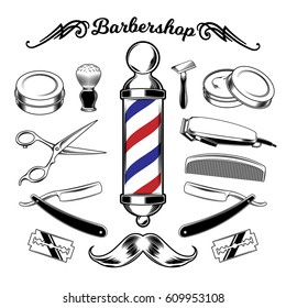 monochrome collection barbershop tools. Engraving and style