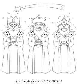 Monochrome coloring line art illustration of three kings