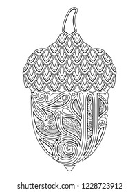 Monochrome Decorative Acorn. Fall Plant with Paisley Floral Ornament, Indian Motifs. Design Element for Print, Label, Logo, Packaging Template. Сoloring Book Page. Contour Illustration