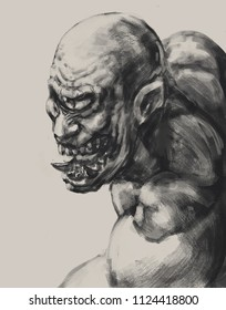 Monochrome drawing of a vicious cyclops creature - Digital fantasy painting