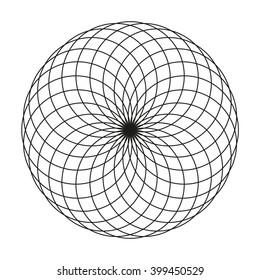 Monochrome elegant circular pattern in black and white. Circular mathematical ornament. A circular pattern from the crossed circles. Mandala.