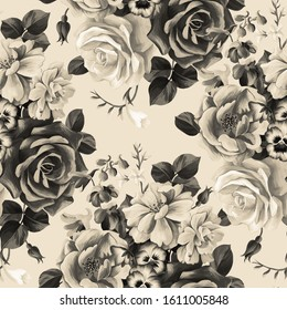 Monochrome floral botanical seamless pattern. Beautiful large roses bouquet. Graphic pencil texture. Fashion flowers. Textile and fabric design.