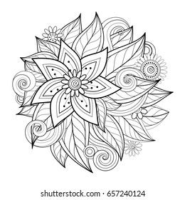Monochrome Floral Composition in Round Shape. Hand Drawn Ornament with Flowers. Beautiful Doodle Background, Coloring Book Page