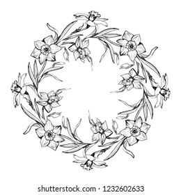 Monochrome floral round frame with hand drawn flowers Daffodils, Narcissus. Realistic sketch on white background. For create greeting card mockup, postcard, invitation wedding design.