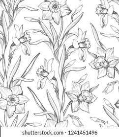 Monochrome floral seamless pattern with silhouettes hand drawn flowers Daffodils, Narcissus on white background. For create wallpaper,  fabrics, home textile, clothes.