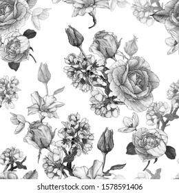 Monochrome floral seamless pattern with watercolor roses, peonies and white flowers