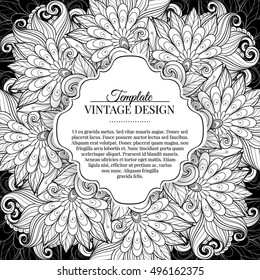 Monochrome Floral Template with Place for Text. Abstract Flowers with Hand Drawn Ornament. Layout for Greeting Card, Cover Page etc. Clipping Mask Used for Editability