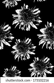 Monochrome flower pattern on black
