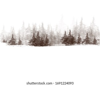 Monochrome graphic illustration of snow-covered fir coniferous forest on white sky background. Realistic drawing