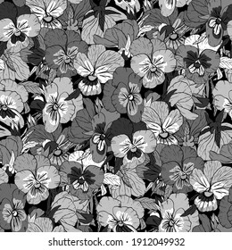 Monochrome gray floral seamless pattern with hand drawn pansy flowers on white background. Stock illustration.