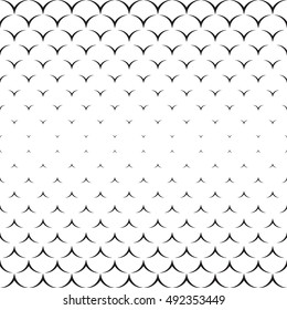 Monochrome halftone decor. Endless abstract background. Geometric seamless backdrop. Modern repeating texture.  Black and white illustration.