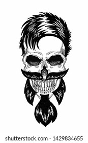 Monochrome illustration barbershop of skull with beard, mustache, hipster haircut and on white background, cartoon, angry, beautiful, brutal.