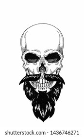 Monochrome illustration barbershop of skull with beard, mustache, hipster and on white background, cartoon, angry, beautiful, brutal.