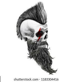 Monochrome illustration of hipster skull with mustache and beard.T shirt graphics for men.