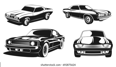Monochrome illustrations set of retro muscle cars. Black picture automobile transport, sport muscle car retro design