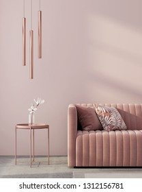 Monochrome interior in pink color with a sofa, a table, a chandelier of pink gold and a white flower / 3D illustration, 3d render