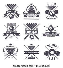 Monochrome labels or logos for billiard club. illustrations of snooker balls. Billiard sport and snooker competition emblem