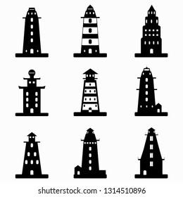 monochrome lighthouse symbols collection