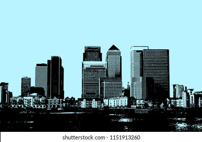 Monochrome line art illustration of the Canary Wharf business centre in London, UK