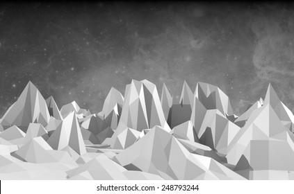 monochrome low poly mountains landscape. NASA image on backdrop