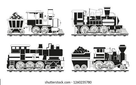 Monochrome pictures of vintage trains